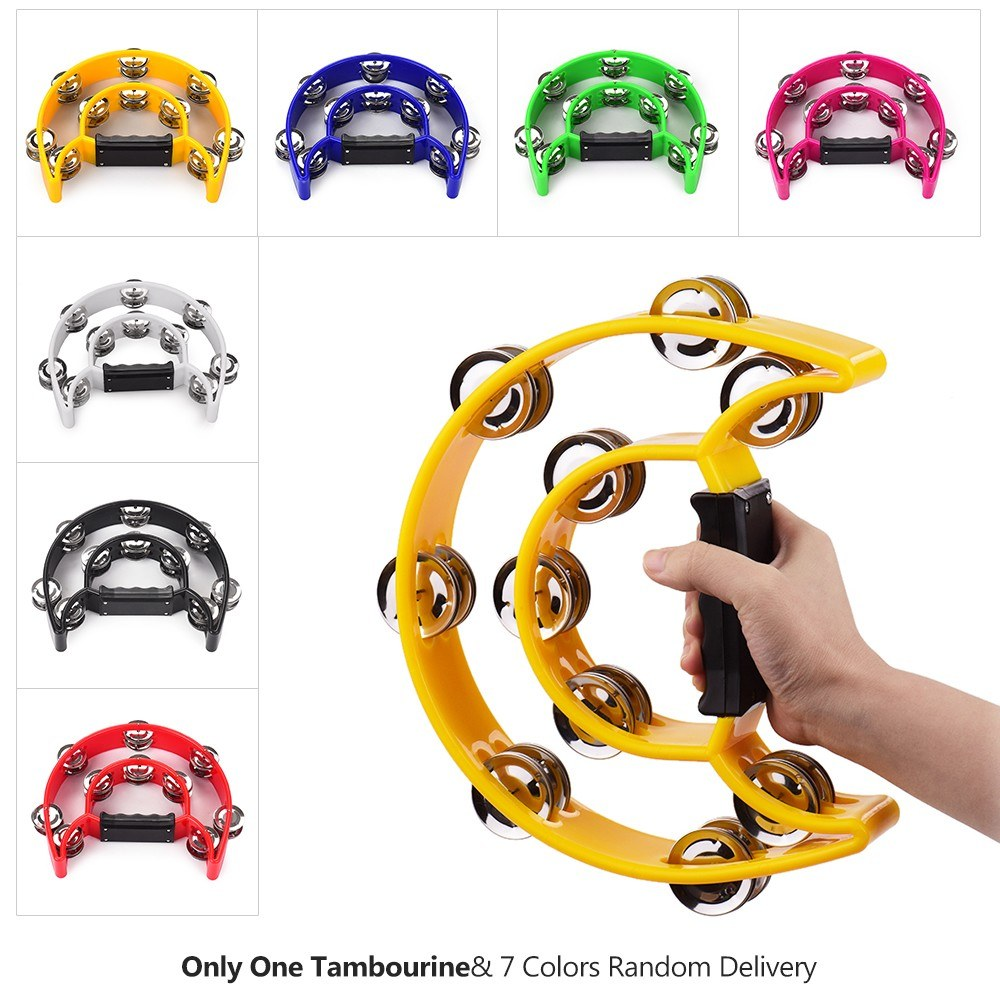 Handheld Tambourine Handbell Timbrel Percussion Musical Toy Double Rows 20 Pairs of Metal Jingles for Karaoke KTV Party Kids Games (7 Colors Random Delivery)