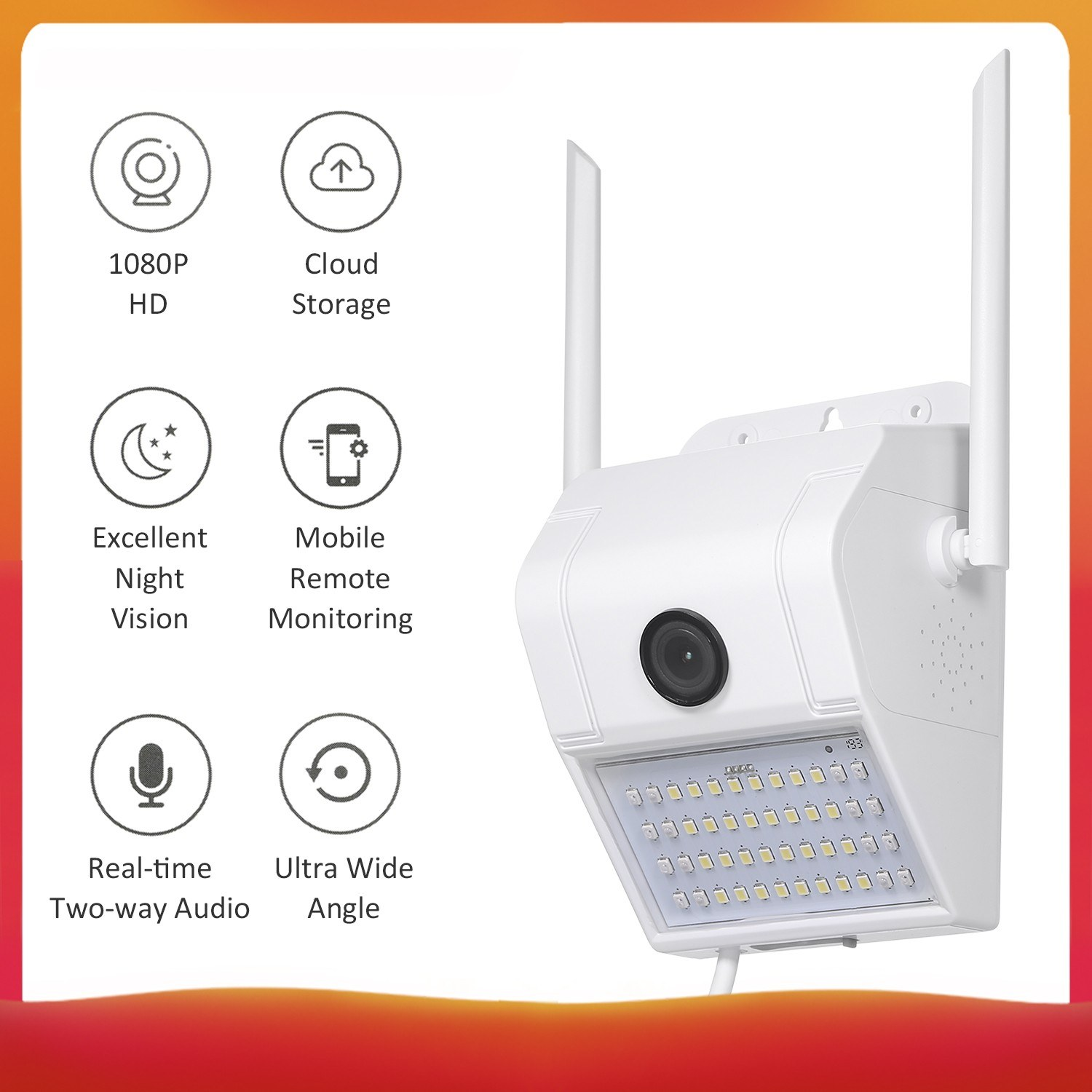 V380 1080P Multifunctional WIFI Wireless Surveillance Outdoor Wall Light Webcam Security Camera with PIR Motion Detection Sensor IP65 Water Resistance