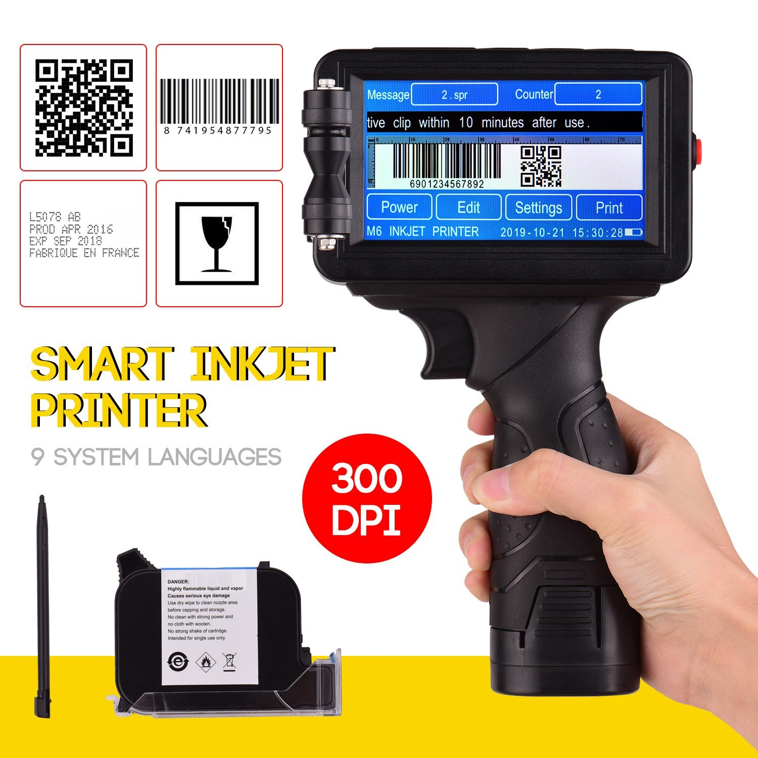 M6 Portable Intelligent High Definition Inkjet Printer Handheld Code Printer with 4.3 Inch Touchscreen for Text Number Code Label Symbol Pattern