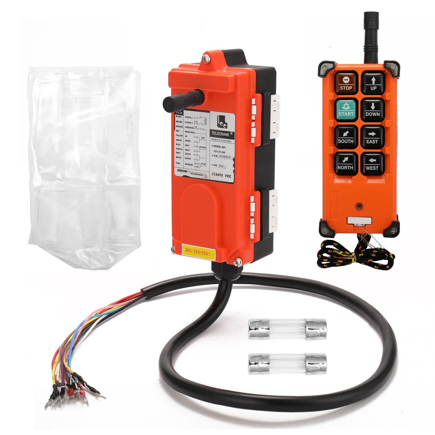 F21-E1B DC12-72V Industrial Remote Controller Switches Hoist Crane Control Lift Remote Control with One Transmitter and One Receiver