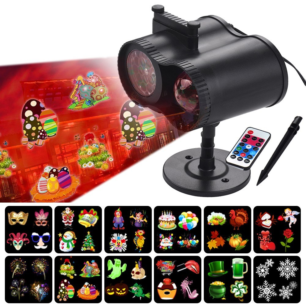 LED Projector Light Water Wave Multiple Patterns Interchangeable Slides IP44 Waterproof with Remote Control for Christmas Halloween Holiday Birthday Party Festival Decoration