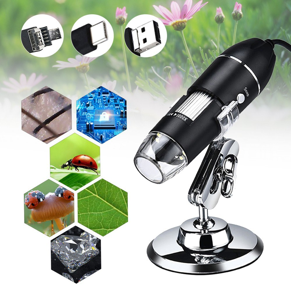 Digital Microscope 3 in 1 Port Type-C 1000x Magnification Portable High Definition USB Digital Magnifier Industry Microscope Maintainance Inspection Tool
