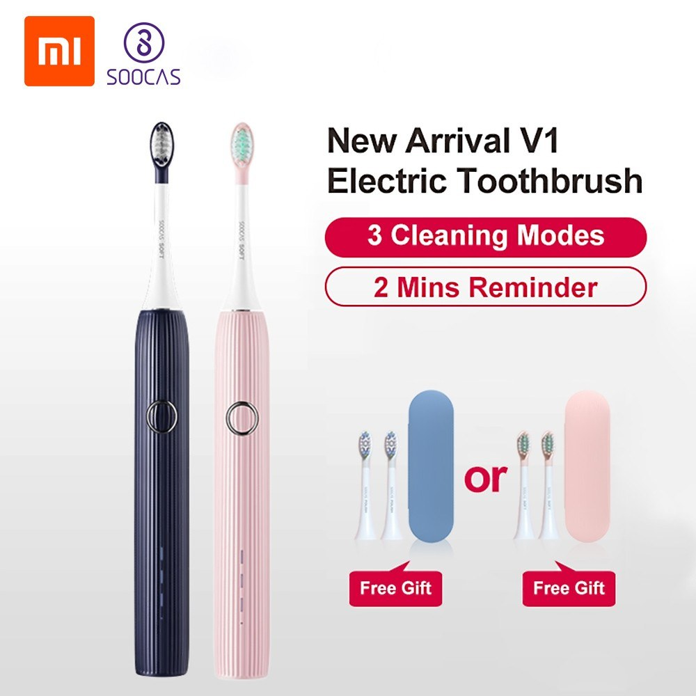 Xiaomi SOOCAS V1 Electric Toothbrush Sonic Ultrasonic Automatic ToothBrush Type-c Rechargeable 3 Modes Waterproof Whitening Toothbrushes For Adult with 2 Heads Travel Case