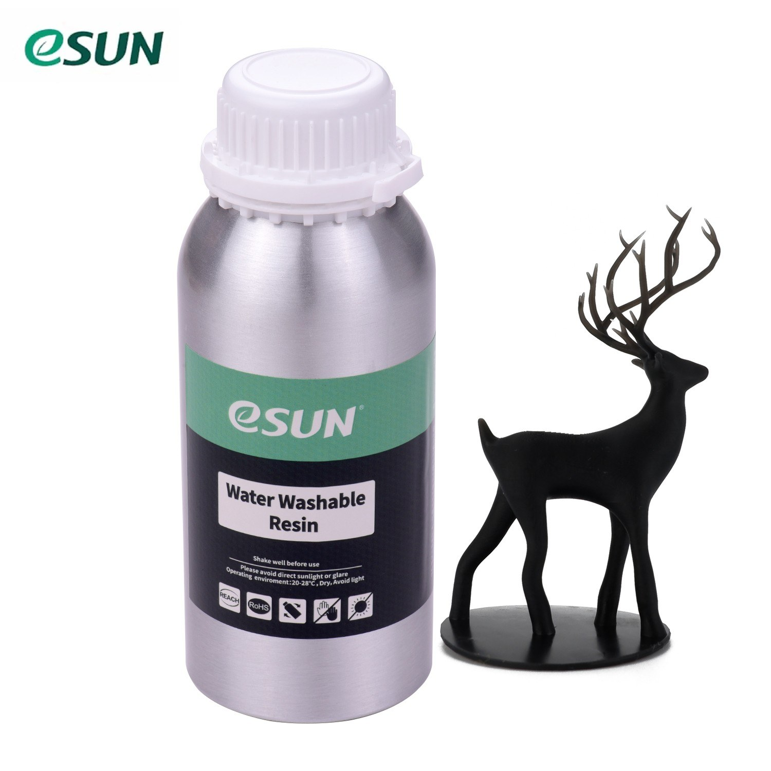 eSUN Water Washable Resin for LCD 3D Printer Aluminum Bottle Liquid Printing Material 76D Hardness Consumables Compatible with Anycubic Nova Sparkmaker Uniz Creality 3D Printers Accessories 500g/Bottle Black