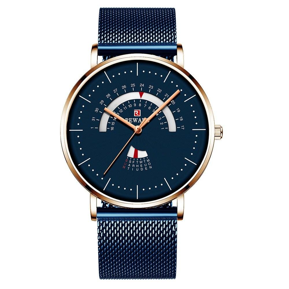 REWARD RD62007M Quartz Movement Men Watch Luxury Business Simple Wrist Watch 3ATM Waterproof Ultra-thin Calendar Week Wristwatch for Men with Alloy Mesh Strap Band