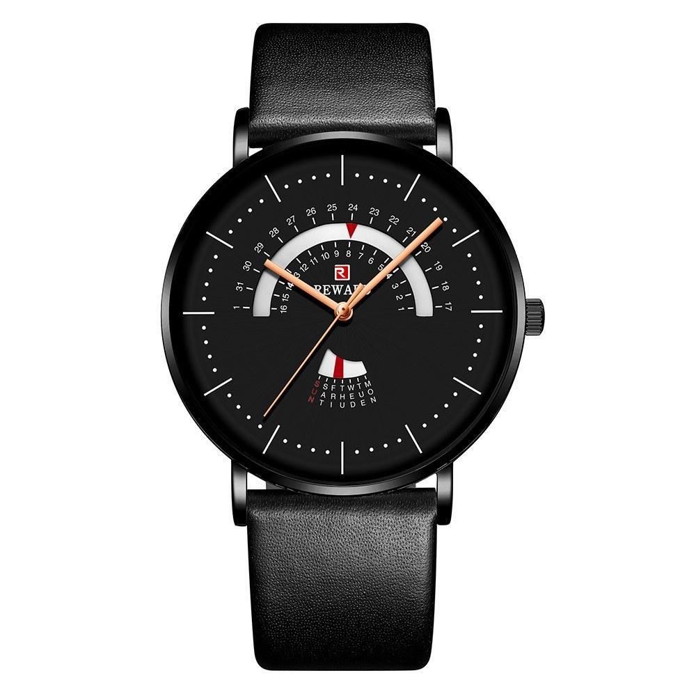 Reward RD63102M Quartz Movement Men Watch Luxury Business Simple Wrist Watch 3ATM Waterproof Ultra-thin Calendar Week Wristwatch for Men with Leather Strap Band