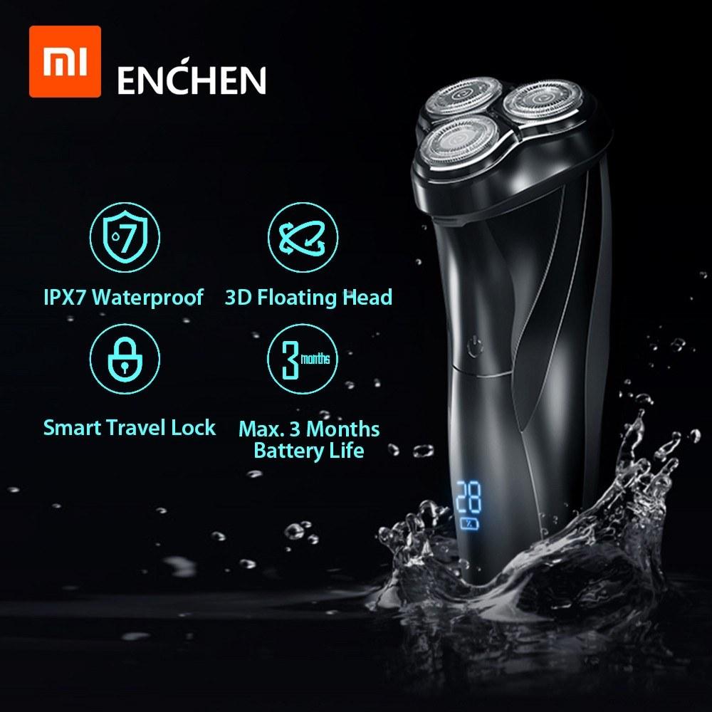 Xiaomi Enchen BlackStone 3 Electric Shaver 3D Triple Floating Blade Heads Shaving Razors Men Facial Beard Trimmer USB Rechargeable Machine