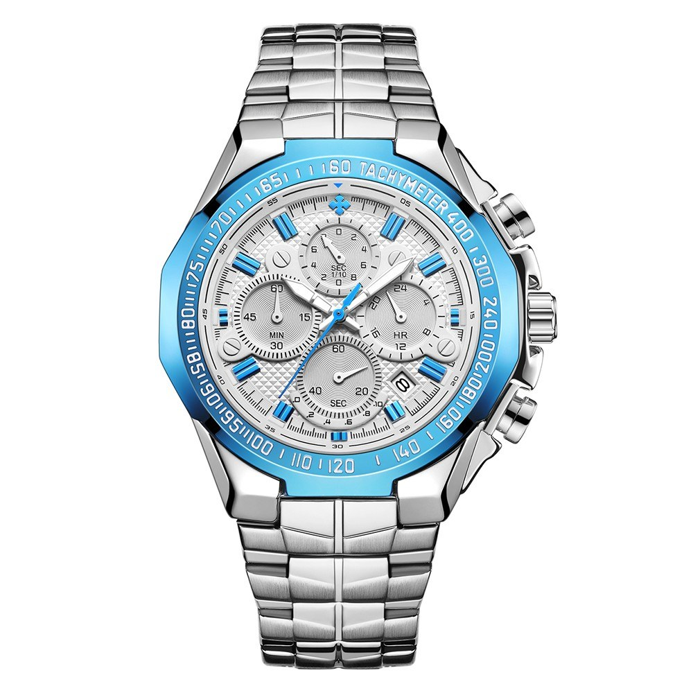 WWOOR 8868 Business Quartz Men Watch 5ATM Waterproof Military Sports Luminous Watch Chronograph Calendar Skeleton Wristwatch with 4 Sub-dials Stainless Steel Strap Band
