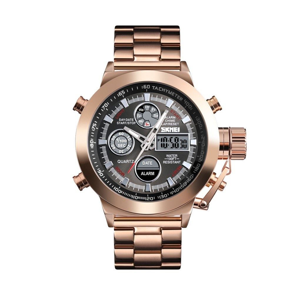 SKMEI 1515 Men Quartz Watch Professional 3ATM Water Resistant Double Display Double Movements GMT Time Multifunctional Luminous Digital Watch Rose Gold
