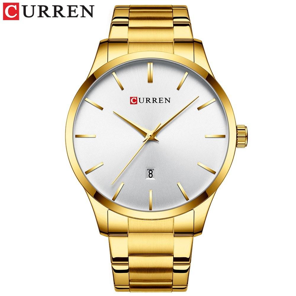 Curren Watch Classic Exquisite Alloy Case Stainless Steel Band Wrist Quartz Watch Fashion Business Men Calendar Luminous Hands Waterproof Watch