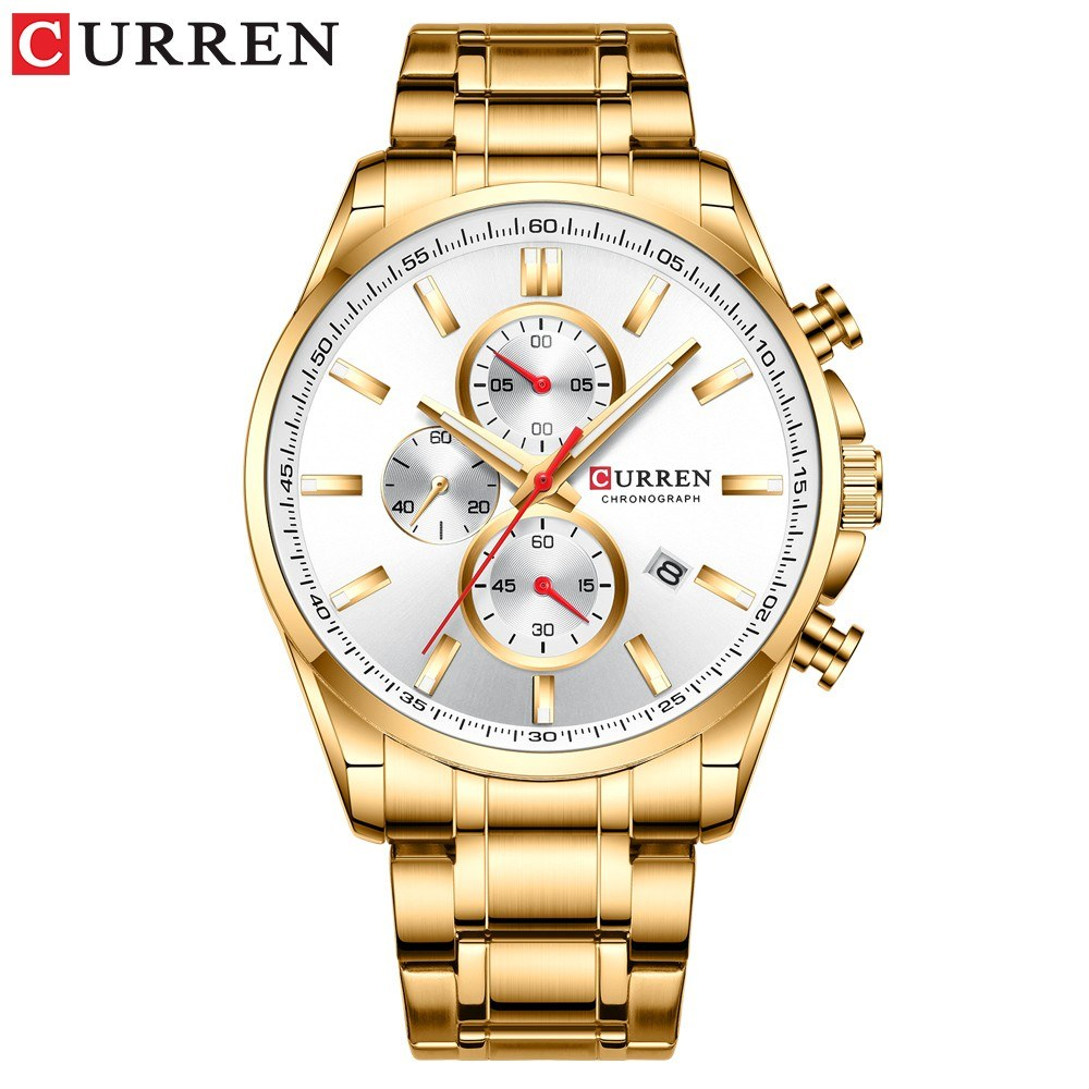 Curren Men Businiess Watch Fashion Exquisite Calendar Luminous Hands Waterproof Watch Classic Alloy Case Stainless Steel Band Wrist Quartz Watch