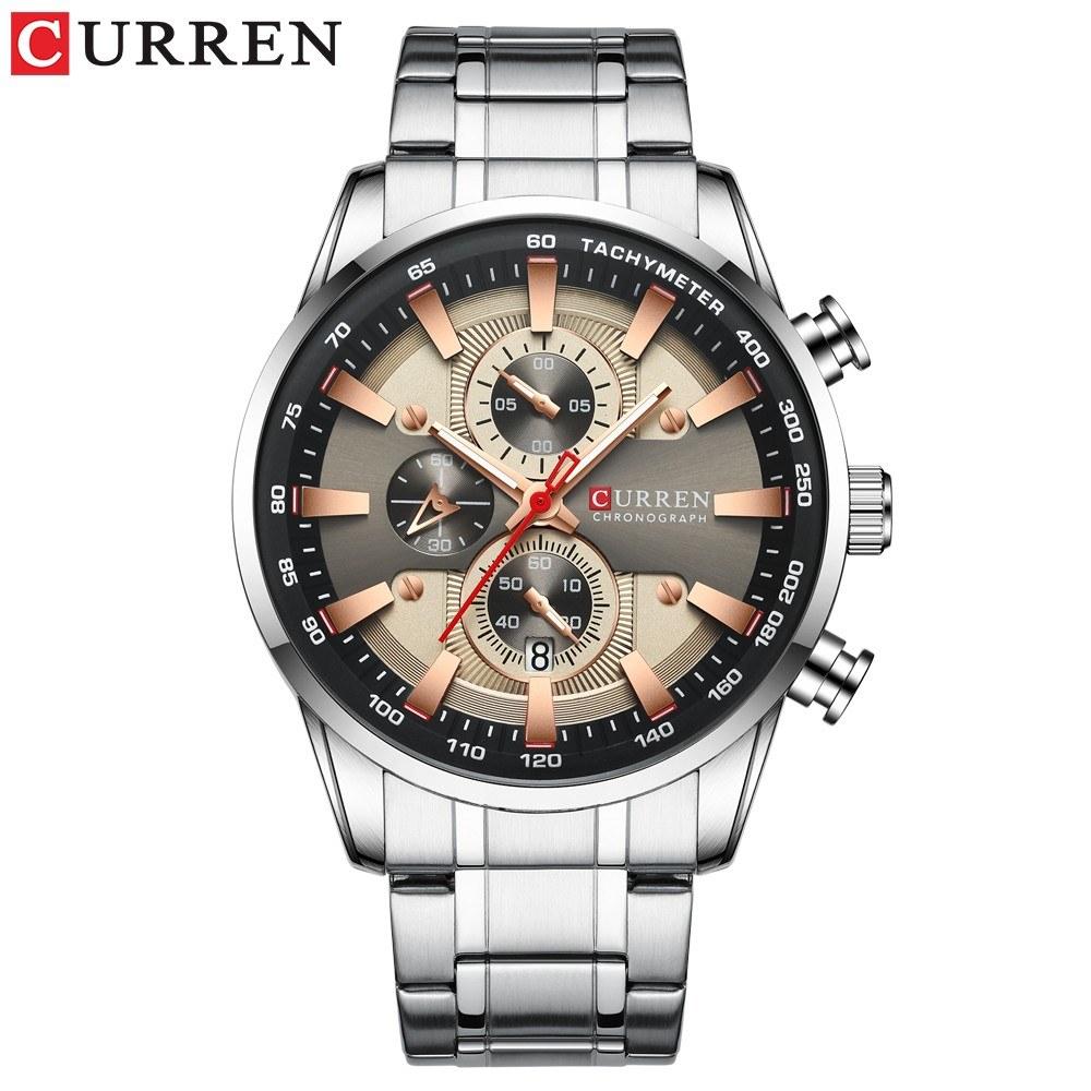 Curren Men Businiess Watch Fashion Classic Alloy Case Stainless Steel Band Wrist Watch Exquisite Calendar Luminous Hands Waterproof Quartz Watch
