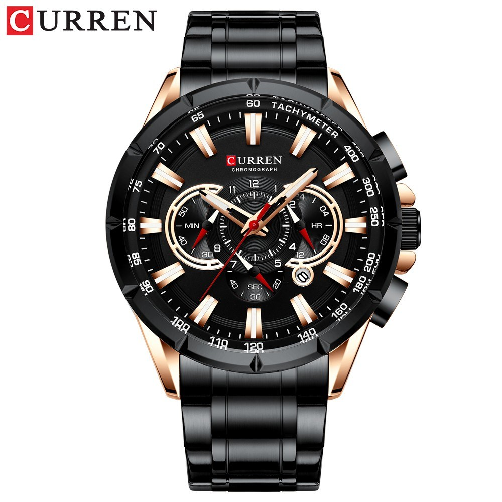 Curren Men Businiess Watch Exquisite Alloy Case Stainless Steel Wrist Band Watch Classic Fashion 3 ATM Waterproof Quartz Watch