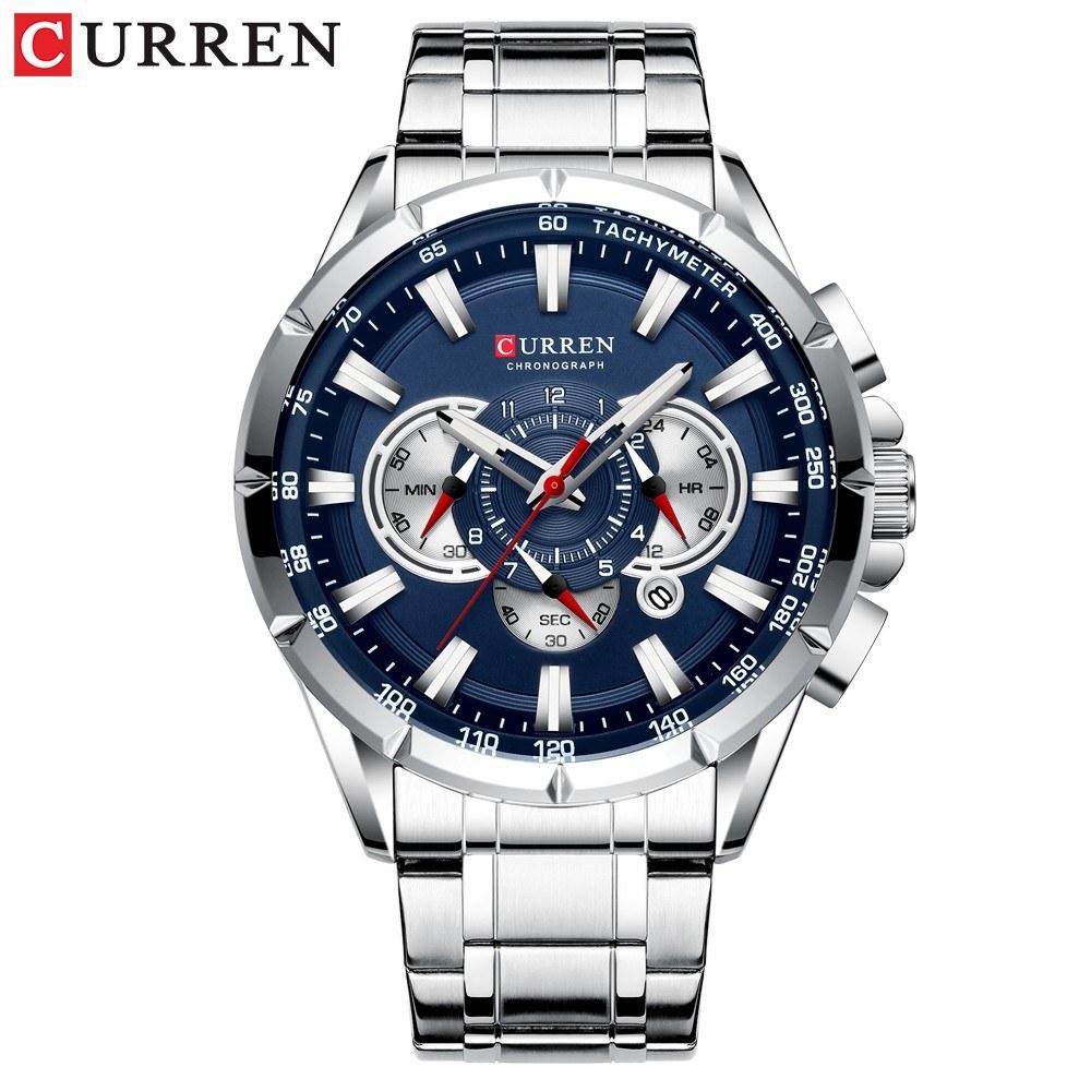 Curren Men Businiess Watch Exquisite Alloy Case Stainless Steel Wrist Band Watch Classic Fashion 3 ATM Waterproof Quartz Watch