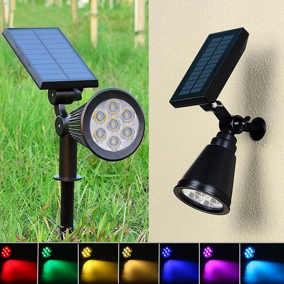 7 LED outdoor Solar Lamp decor Spotlight Lawn Christmas party Waterproof Panel Power Adjustable Flood Light colorful Garden Yard