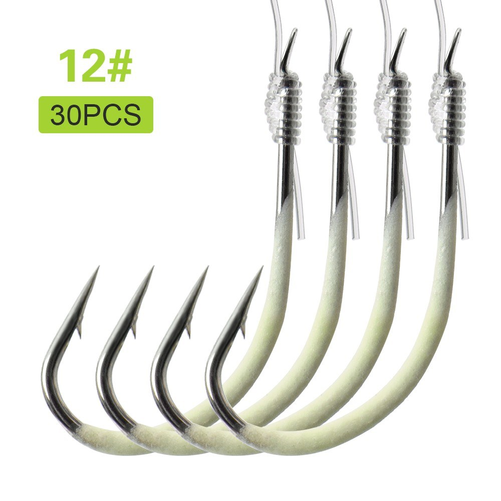 12-28# Luminous Fishing Hooks with Line Barbed Hooks Fishing Tackle Accessories Steel Fishing Hooks