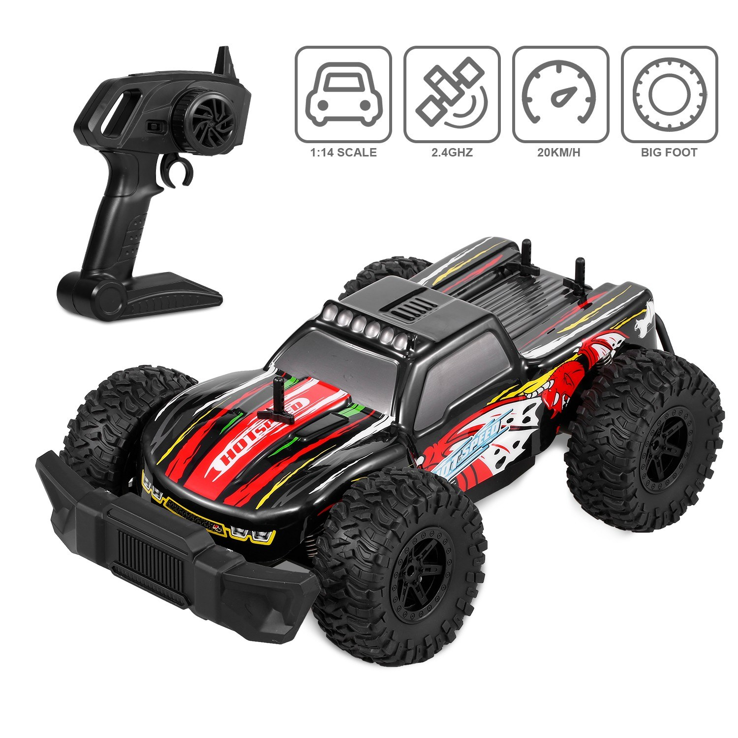 K14-1 1/14 RC Car 2.4G Big Foot High Speed Racing Car RC Buggy on Road off Road Drift Car for Kids