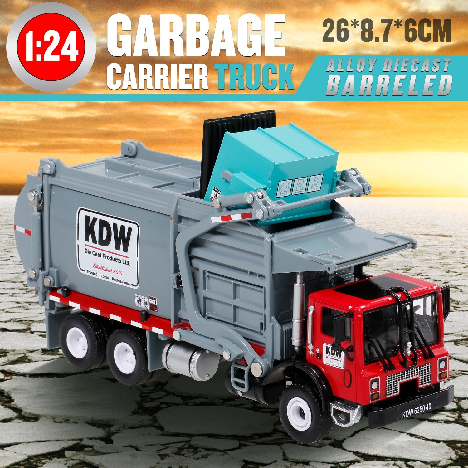 Alloy Diecast Barreled Garbage Carrier Truck 1:24 Waste Material Transporter Vehicle Mod Collector Hobby Toys for Kids Christmas Gift