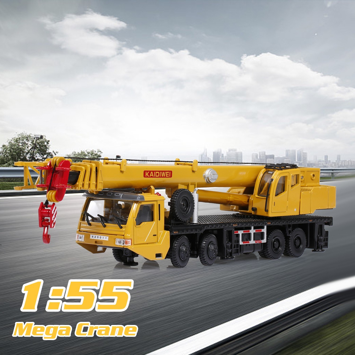 1:55 Mega Crane Lifter Alloy Diecast Model with Steering Linkage 360 Degree Rotate Work Platform Crane Decoration Children Gifts Toy for Kids