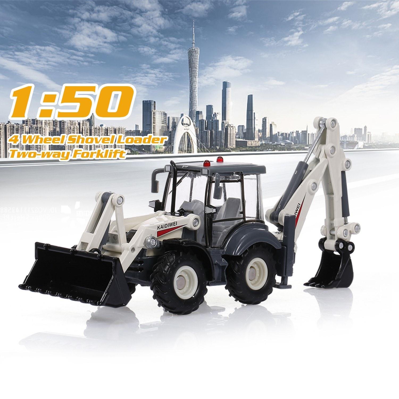 Alloy Diecast Excavator 1:50 4 Wheel Shovel Loader Two-way Forklift Bulldozer Backhoe Loader Truck Model For Kids Gift Toys
