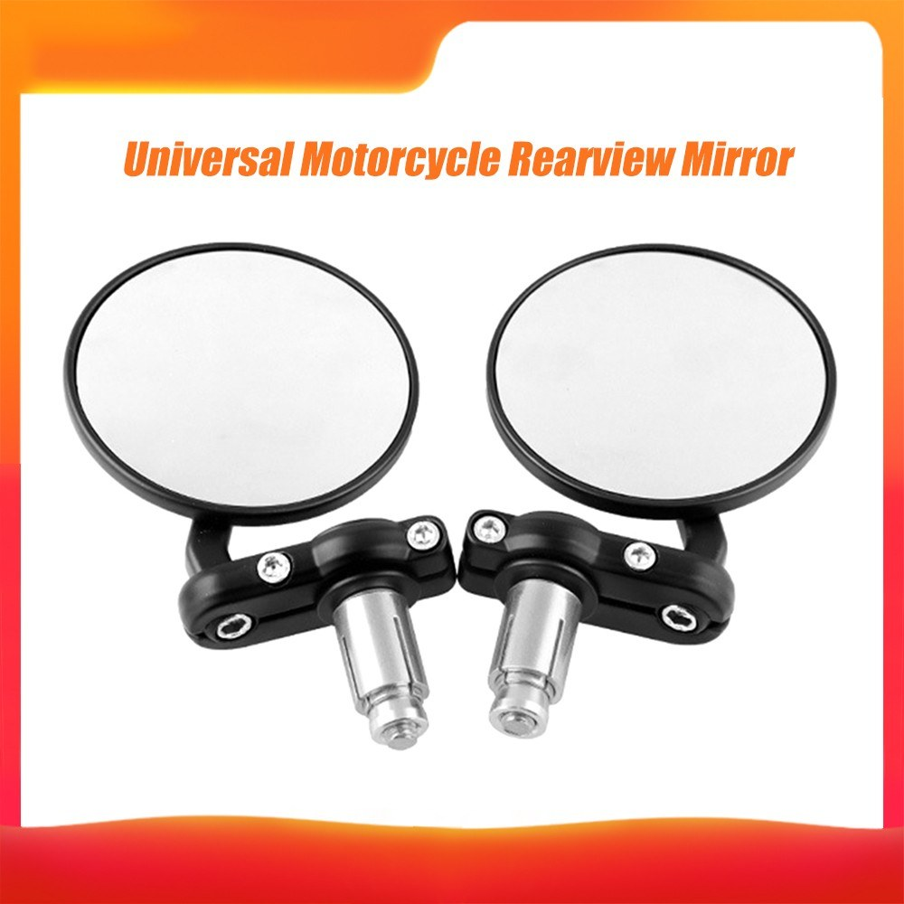 1 Pair Motorcycle Side Mirrors CNC Aluminum Rotate Round 7/8