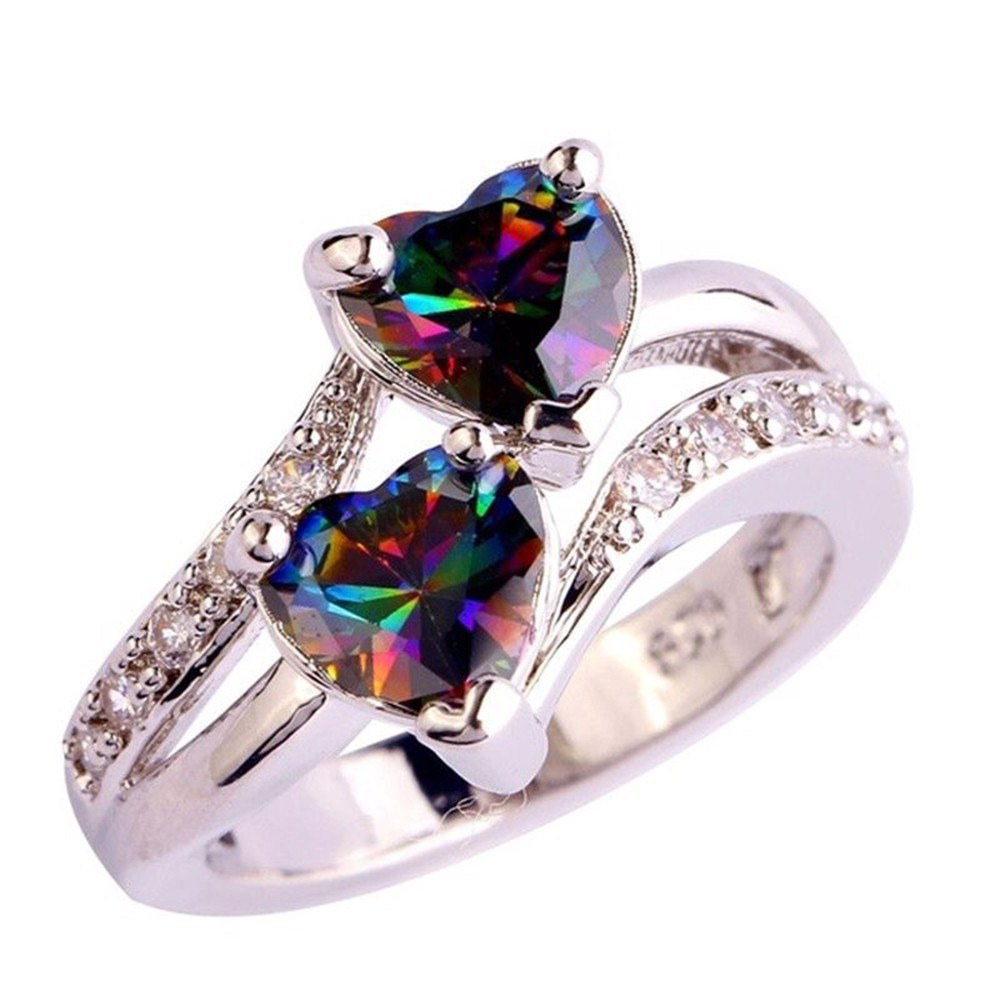 Fashion Elegant Lover Ring Jewelry Women Luxury Zircon Double Hearts Finger Ring