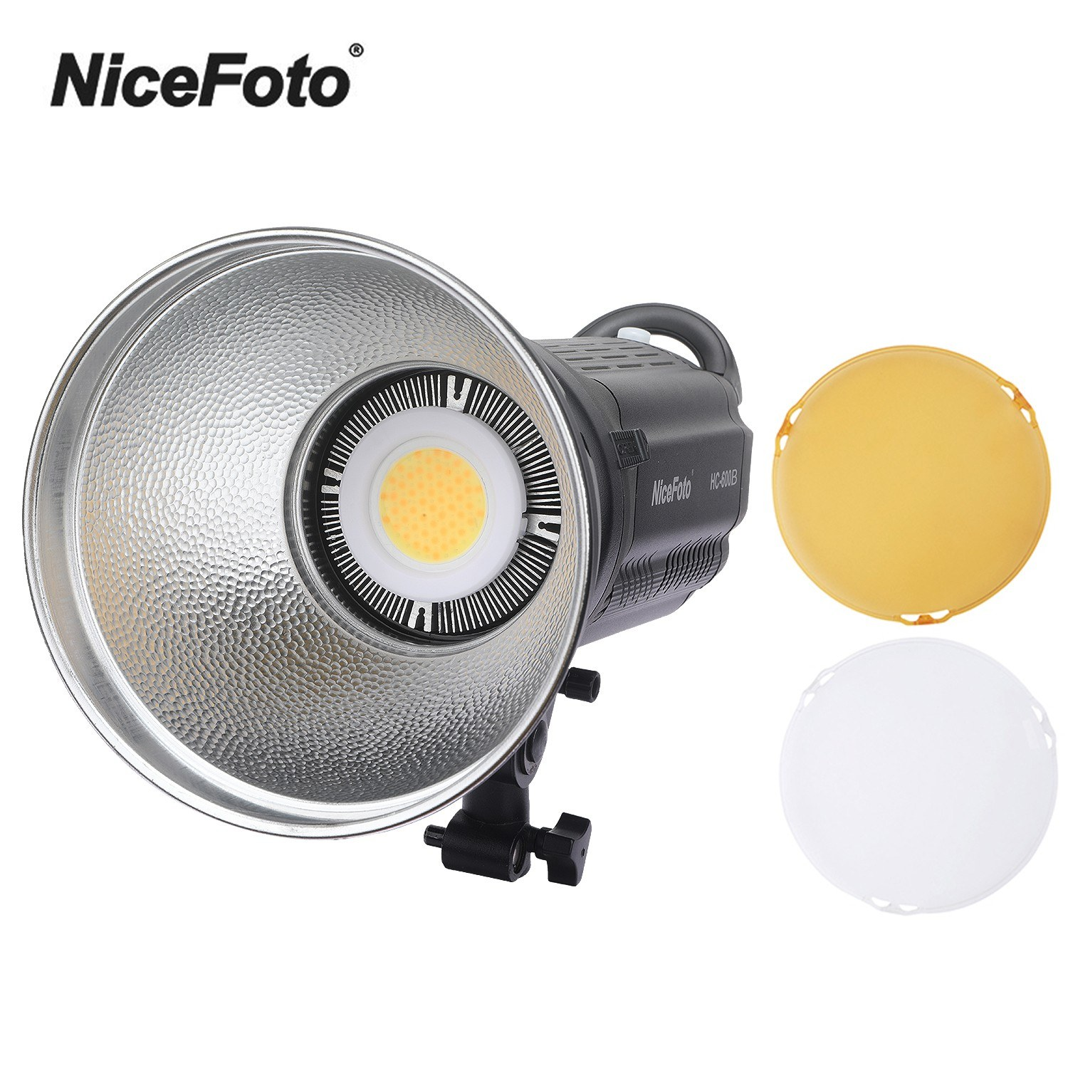 NiceFoto HC-600B Photography LED Video Light Lamp FSK 2.4G Remote Control CRI95+ Stepless Adjustable Brightness 3200K/5600K with Color Filters LCD Display for Studio Outdoor Portrait Wedding Photography