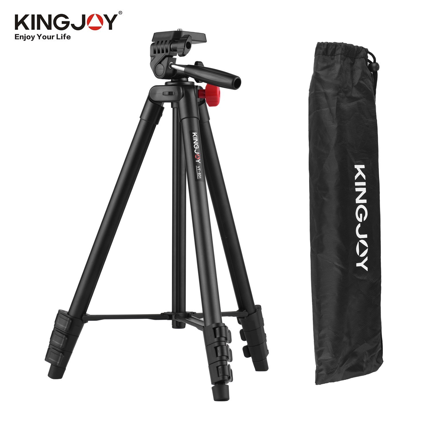 KINGJOY VT-831 Portable Lightweight Photography Tripod Stand Aluminum Alloy 1/4 Inch Screw Connector 2kg Load Capacity Max. Height 135cm with Carry Bag Black