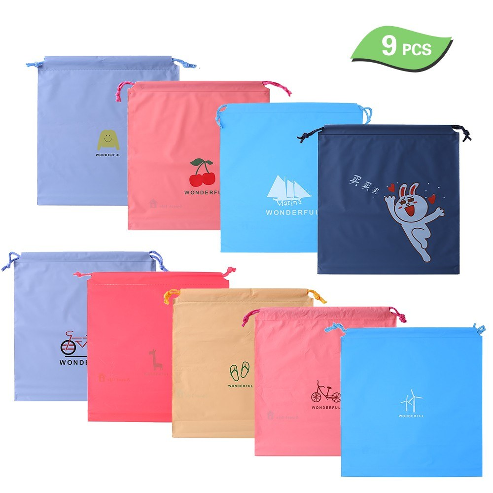 9PCS Drawstring Bag Waterproof Stuff Storage Pouch Toiletry Packing Bag Organizer Pouch Home Camping Traveling Hotel Storage Bag