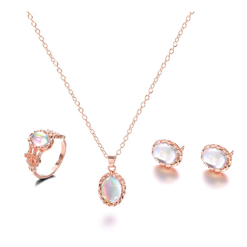 Women Pendant Necklace Water Drop Gem Ear Studs Ring Gold Color Bohemian Wedding Choker Jewelry Set Gifts