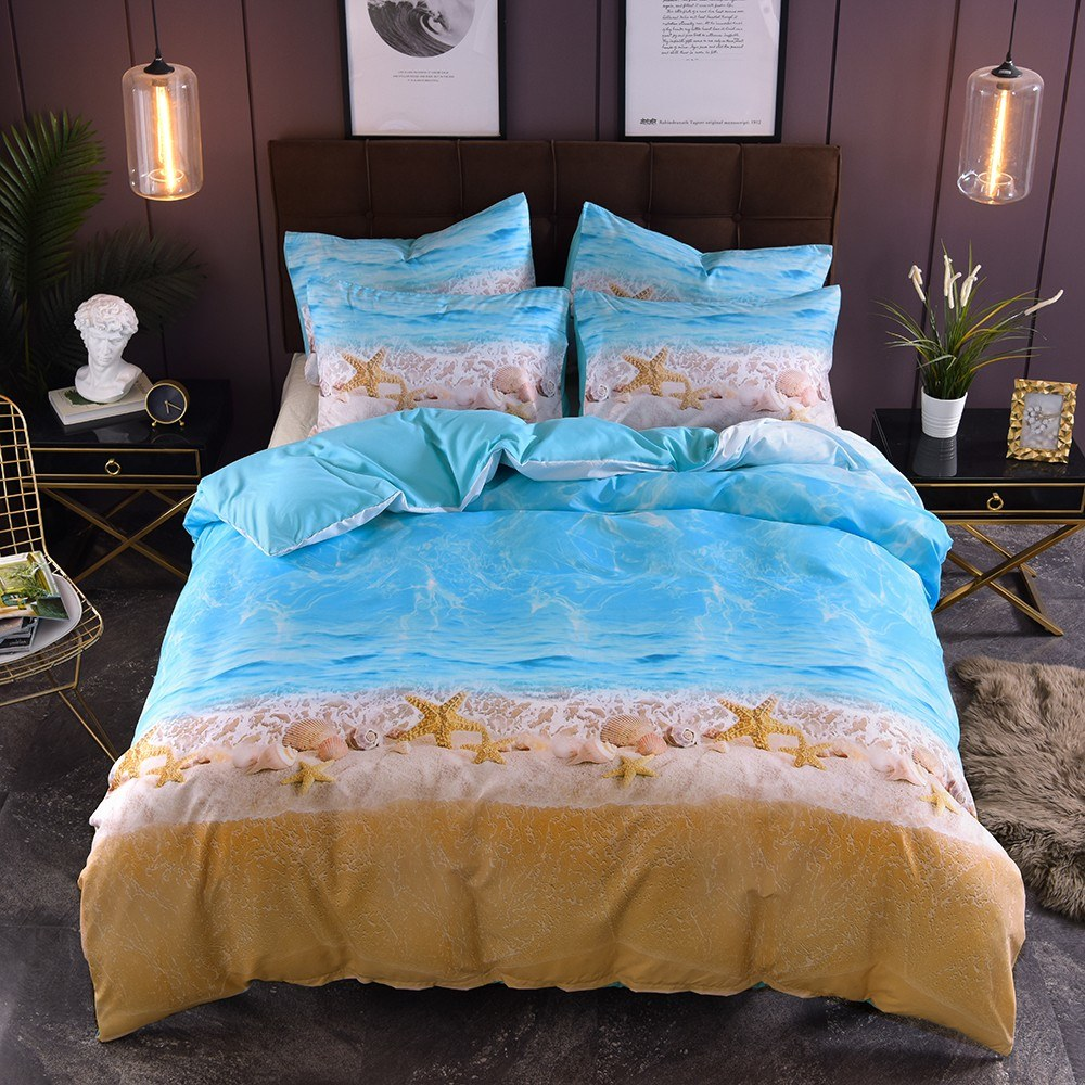 Bedding Set Beach Starfish Pillowcase Bed Sheet Bed Cover Soft And Comfortable 2/3 pieces