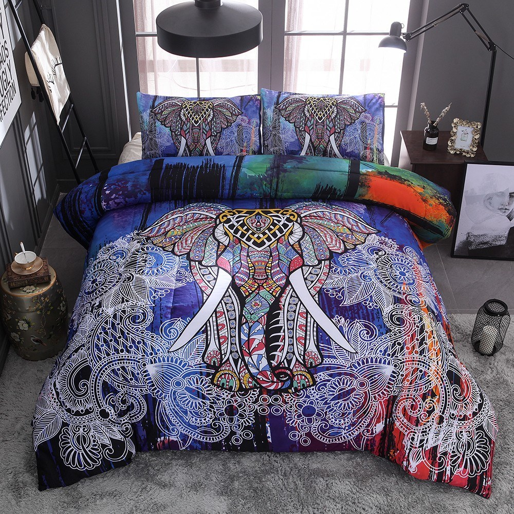 Bedding Set Colorful Elephant Pillowcase Bed Sheet Bed Cover Soft And Comfortable 2/3 pieces