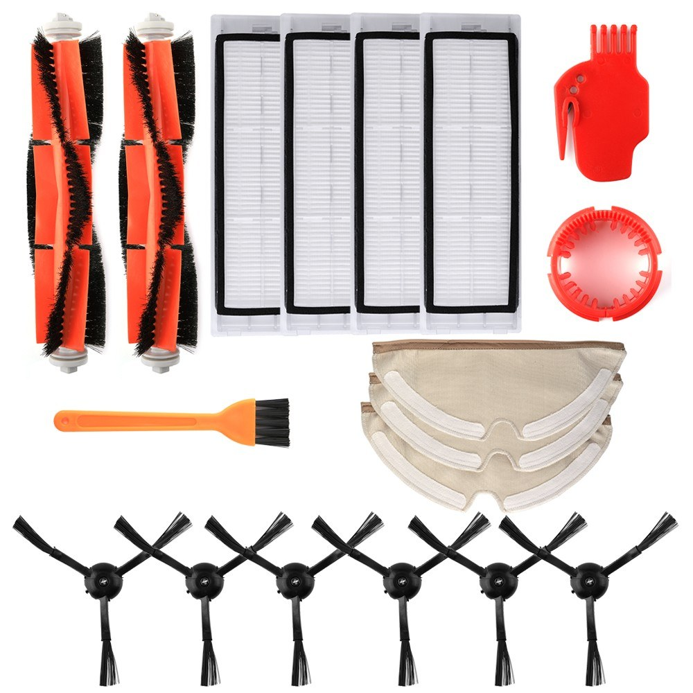 Robotic Vacuum Cleaner Filters Side Brushes Main Brush Kit 18pcs Replacement Accessories for XIAOMI Roborock S55 S50 S51 Robot Vacuum