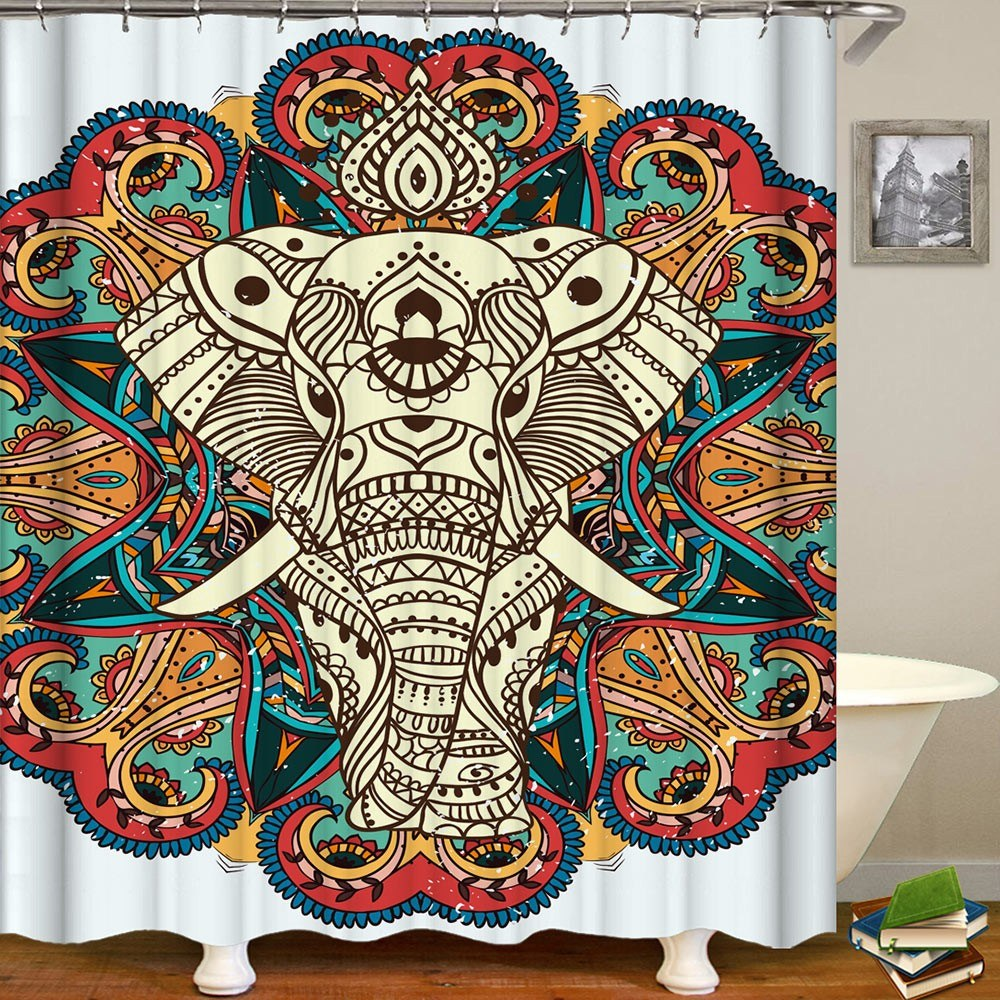 Shower Curtain Animal Print Blackout Curtains Waterproof Mildew-proof Bathroom Curtain 71