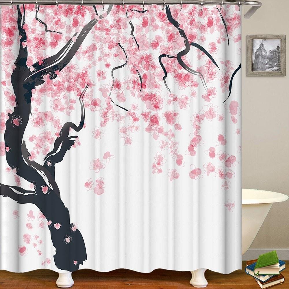Shower Curtain Flowers Trees Print Blackout Curtains Waterproof Mildew-proof Bathroom Curtain 71