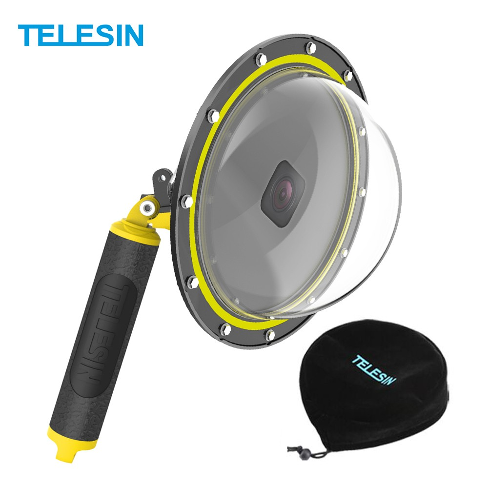 TELESIN 7inch Dome Port Dive Case Underwater 30m with Floating Shank Compatible with GoPro Hero 8 Action Camera