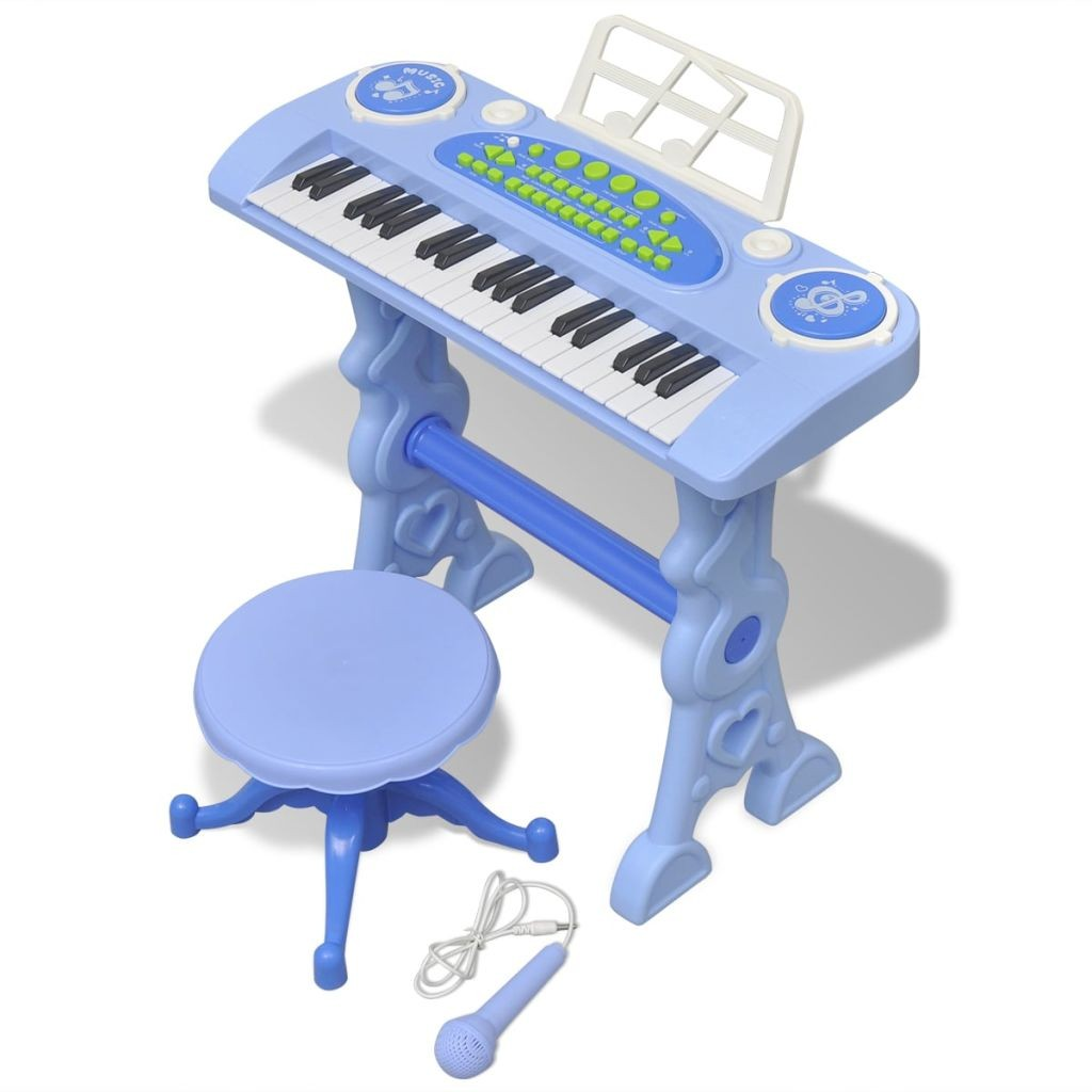 Piano with 37 keys and stool / toy microphone Children Blue