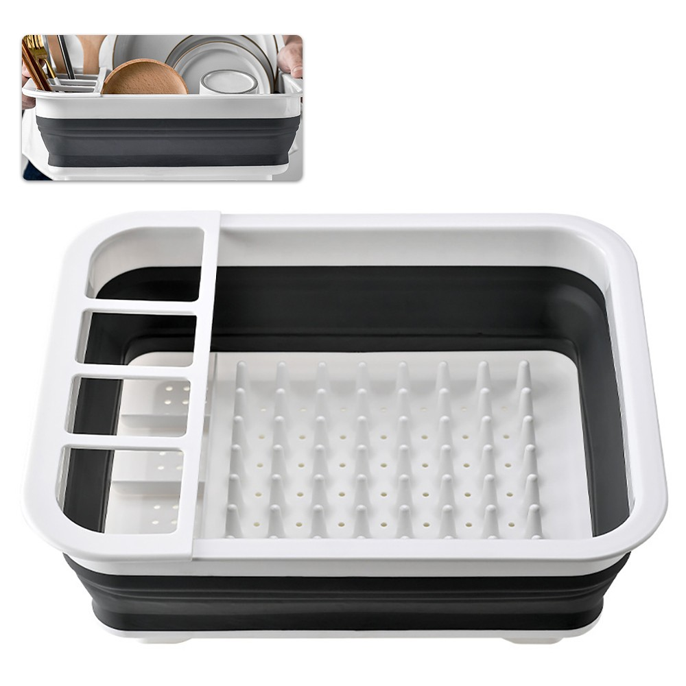Dish Drainer Collapsible Dish Rack Drain Tray Colander with Drainboard for Bowl Dish Fork Spoon