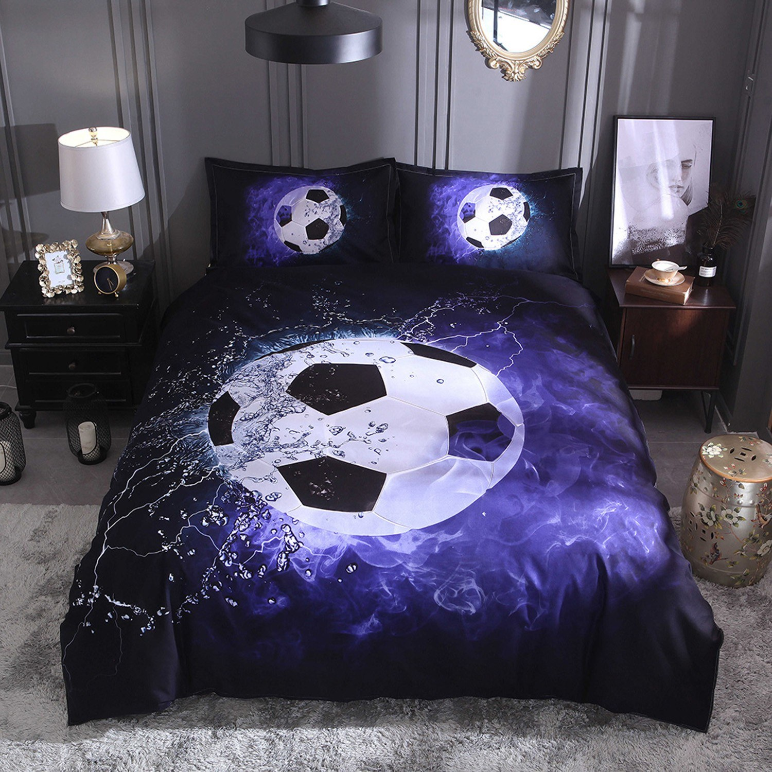 Bedding Set Football Court Pillowcase Bed Sheet Bed Cover Soft And Comfortable 2/3 pieces