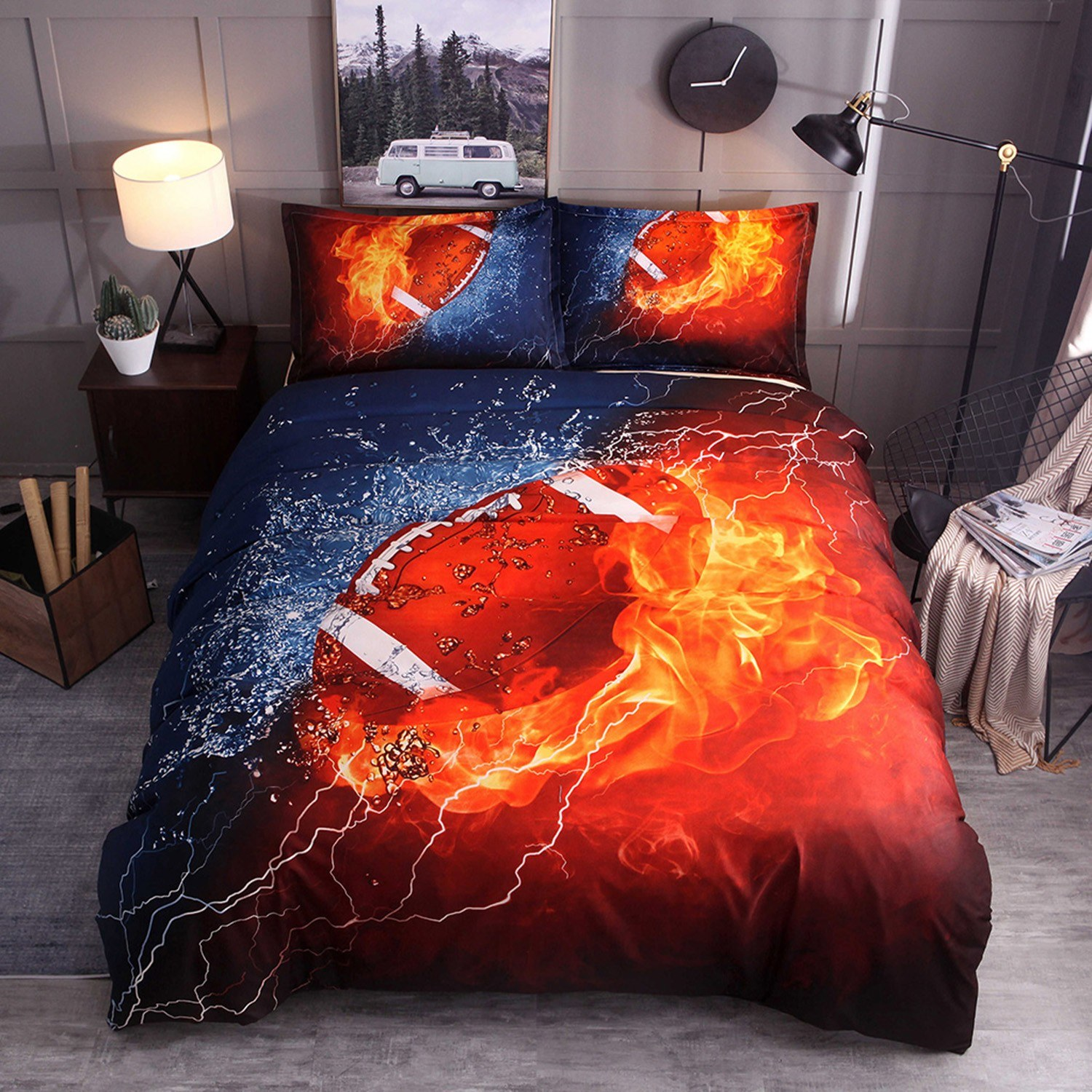 Bedding Set Football Pillowcase Bed Sheet Bed Cover Soft And Comfortable 2/3 pieces