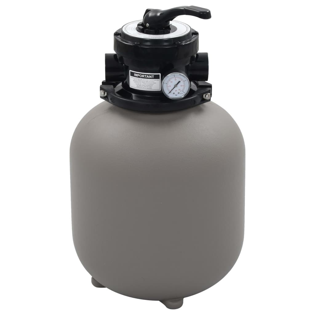Swimming pool sand filter with 4-position valve Gray 350 mm