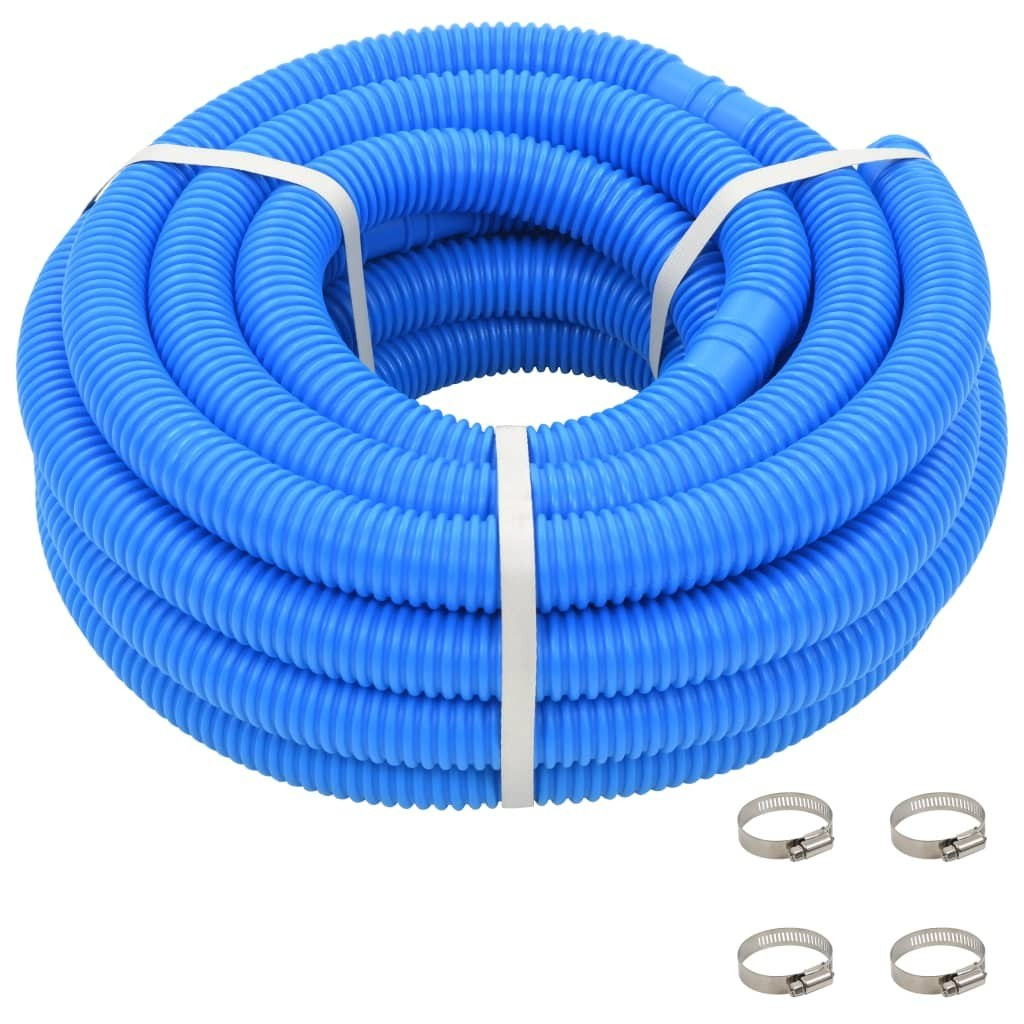 Pool hose with hose clamps Blue 38 mm 12 m