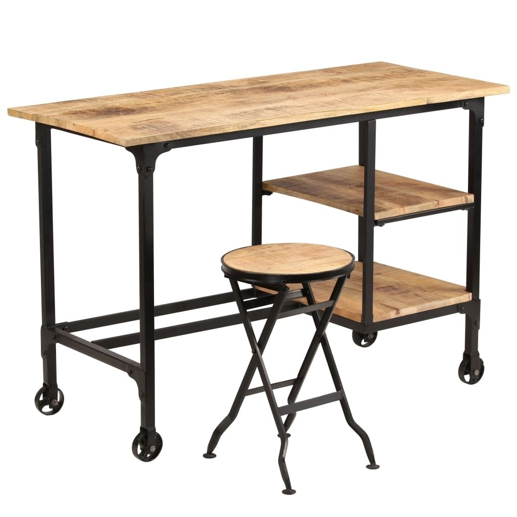 Office with folding stool Solid mango wood 115x50x76cm