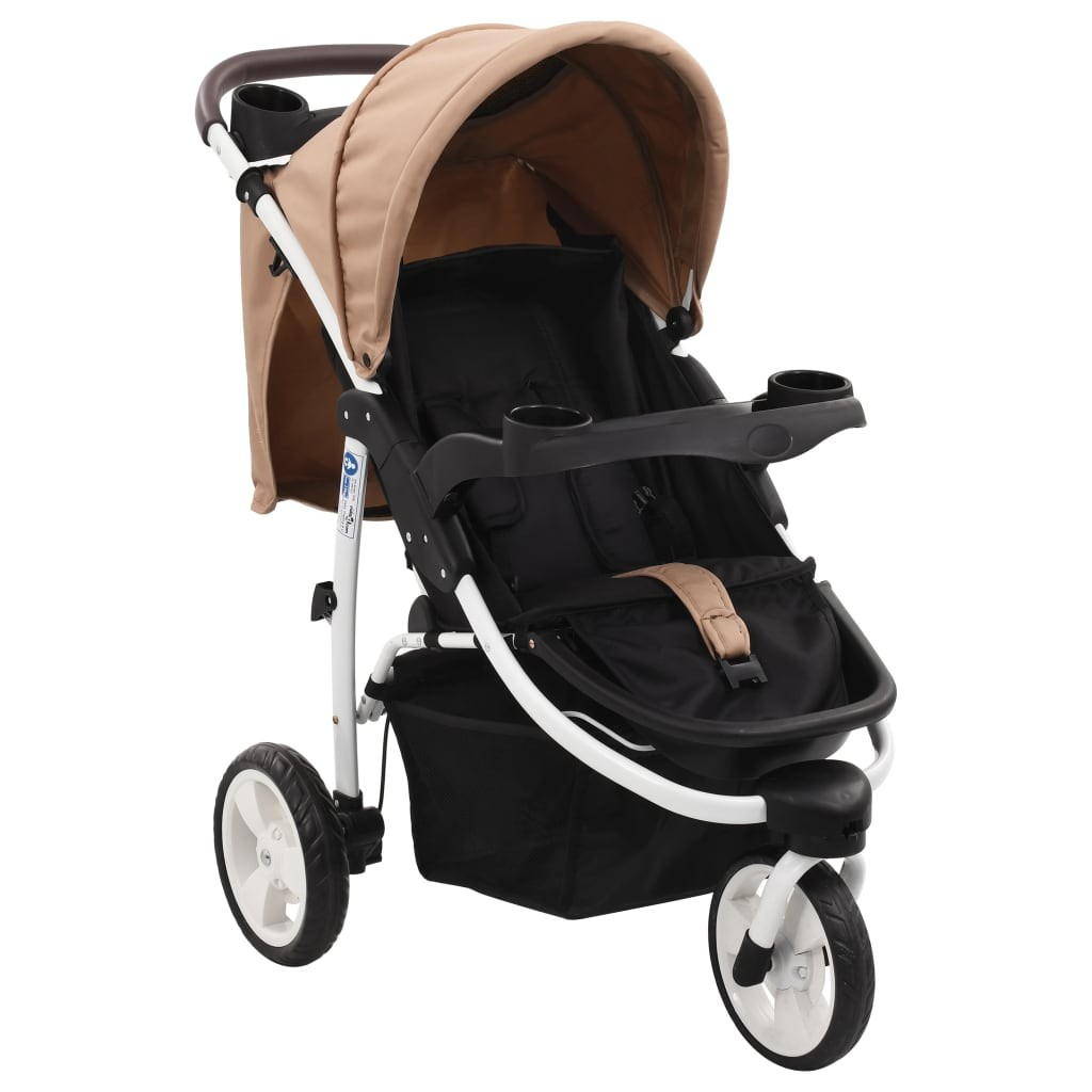 Taupe and black 3-wheeled baby stroller