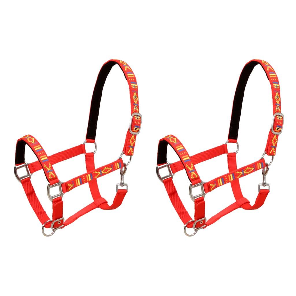 Horse bridle 2 pcs Pony size Red Nylon