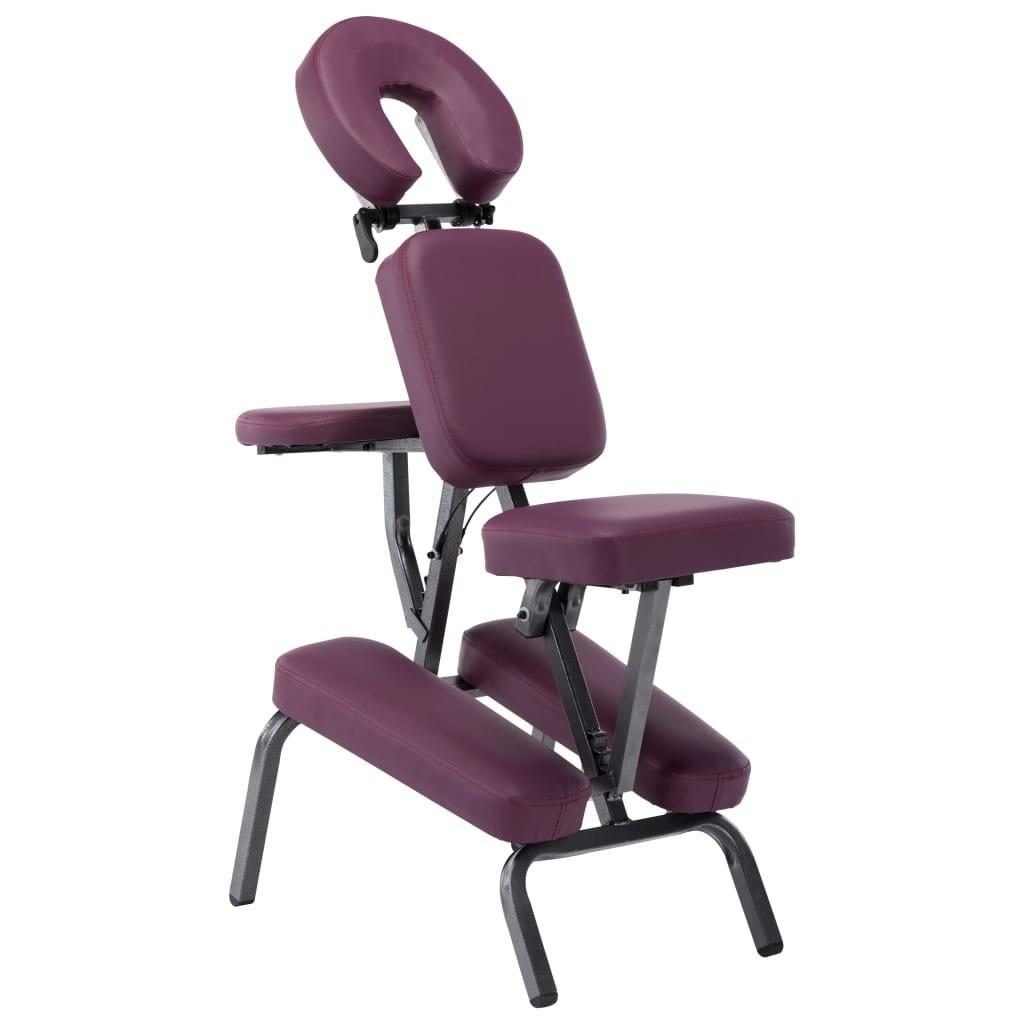 Massage chair imitation leather Burgundy 122 × 81 × 48 cm