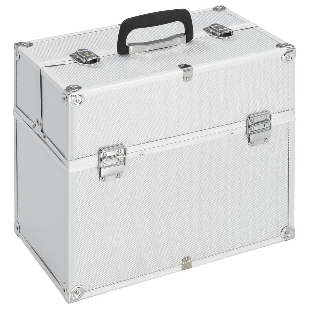 Silver aluminum makeup case 37x24x35 cm