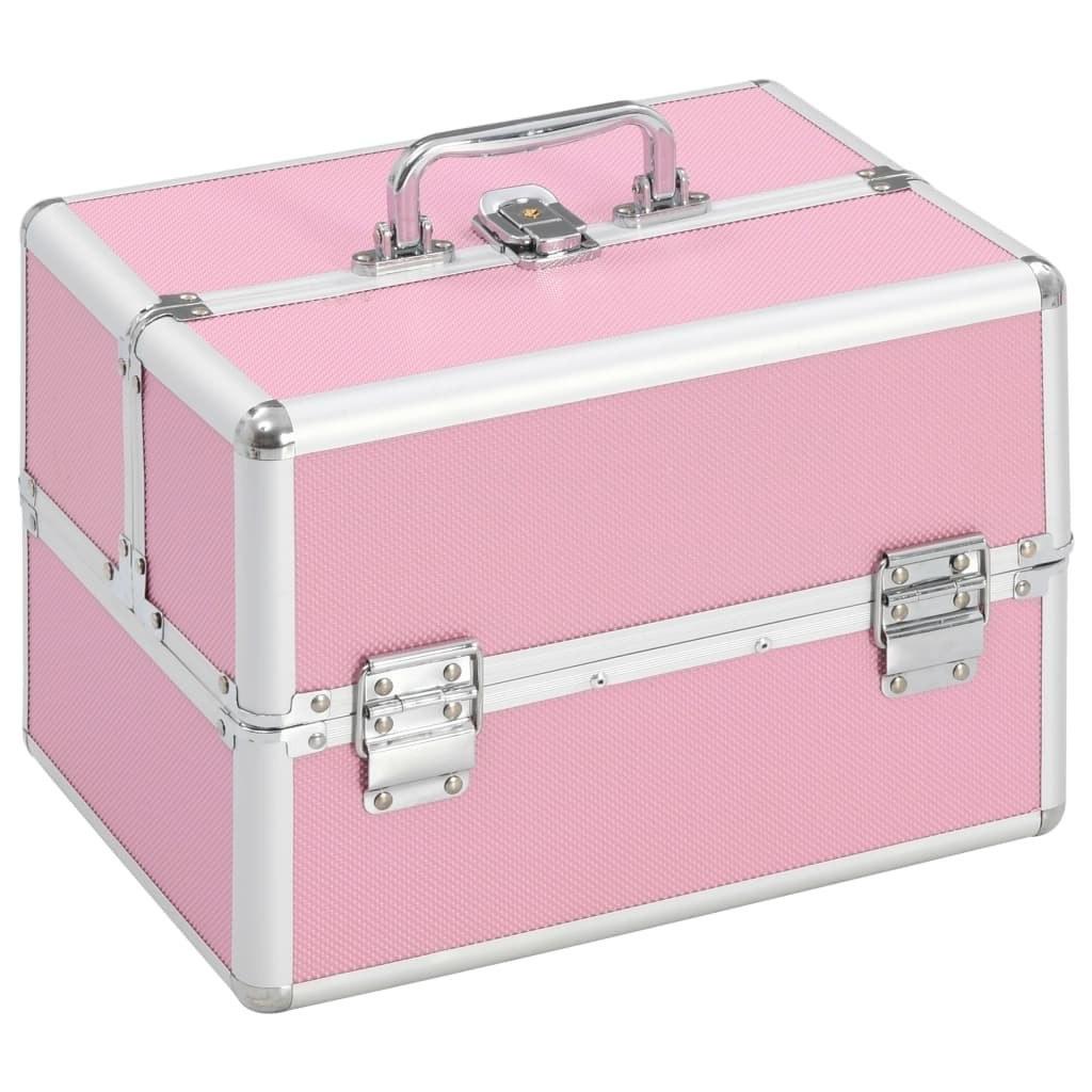 Pink aluminum makeup case 22x30x21 cm