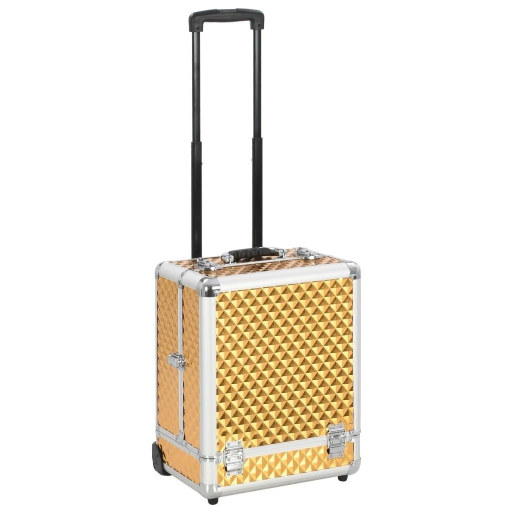 Makeup trolley 35x29x45 cm Golden Aluminum