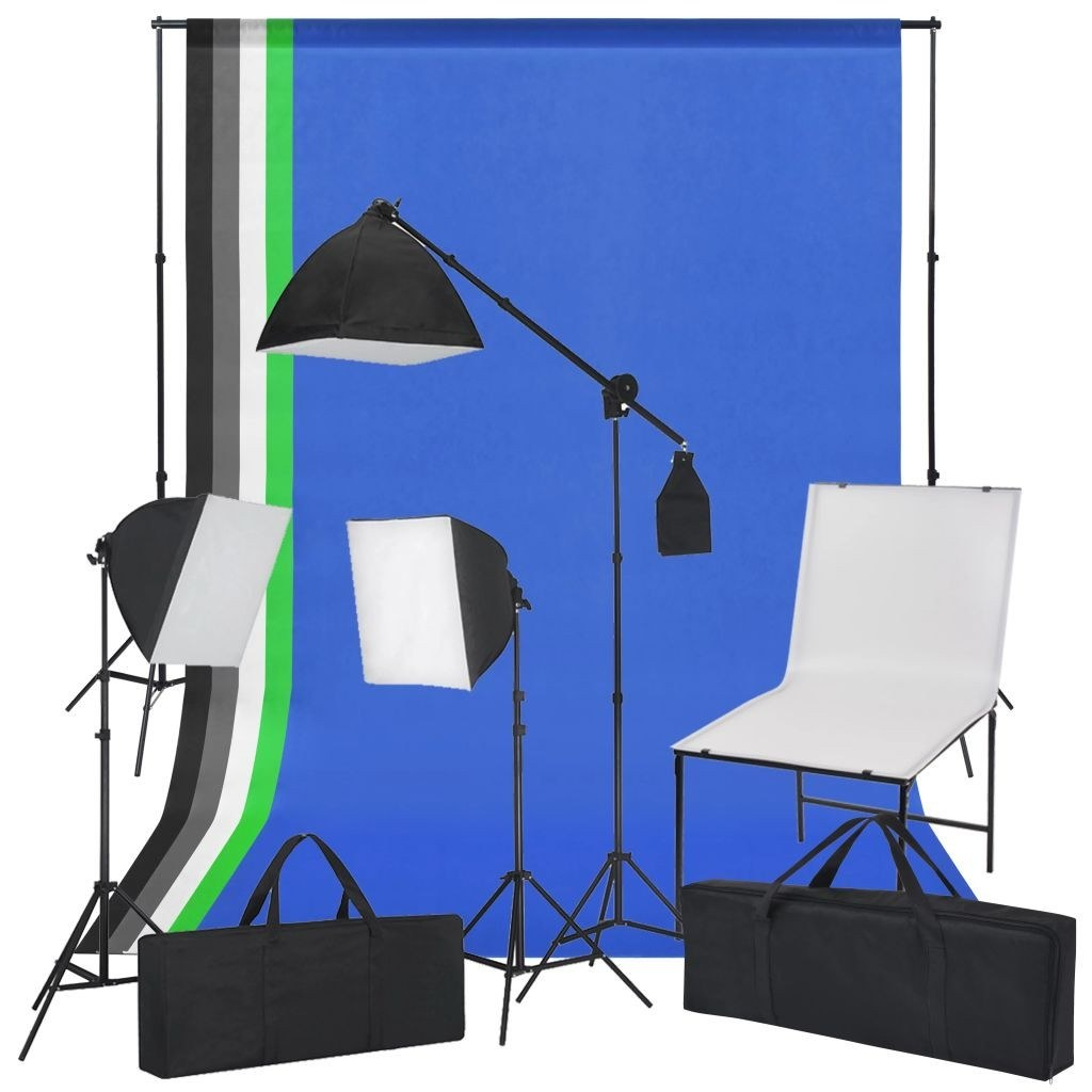 Photo kit with photo table, lights and backdrops